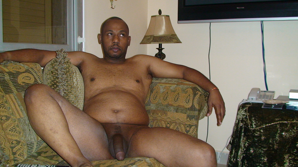 black nudist at home