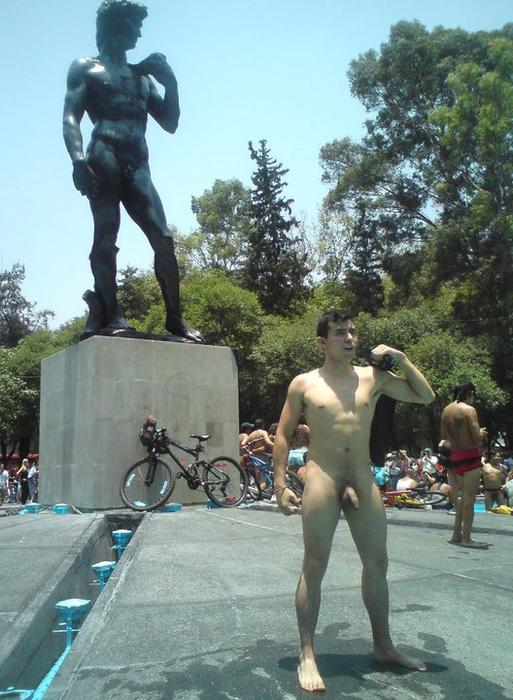 Homage to statue