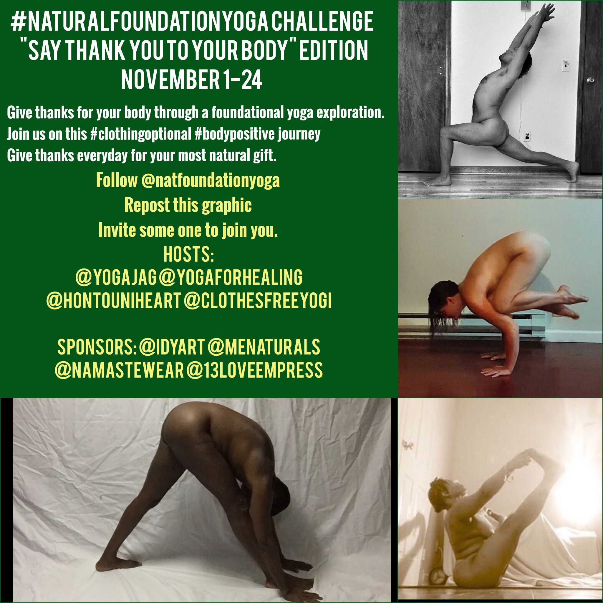 New natural foundations yoga challenge on Instagram